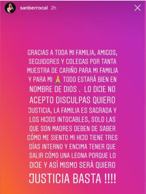 Mensaje de Sandra Berrocal