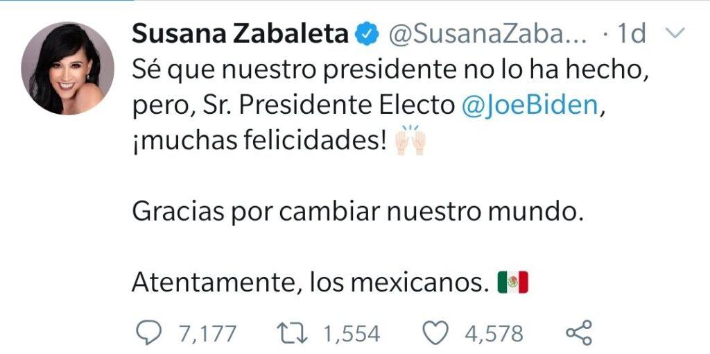 Susana Zabaleta fue criticada por su felicitación a Joe Biden en twiter